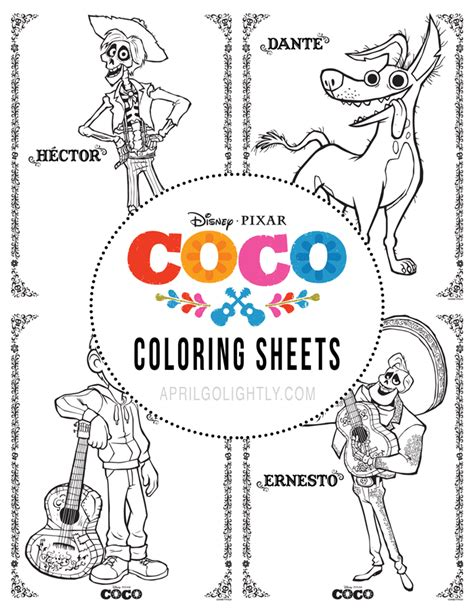 coco coloring book disney pixar coco coloring pages for boys and books disney pixar coco printables april golightly