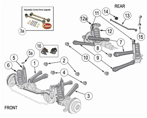 2001 jeep grand front end diagram jeep wrangler tj suspension parts years 1997 2006