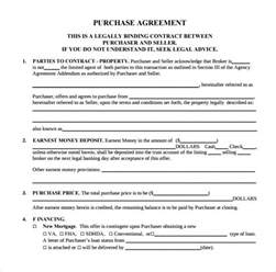 purchase order agreement template sle home purchase agreement 6 documents in pdf word