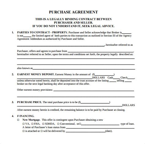 purchase contract template sle home purchase agreement 6 documents in pdf word