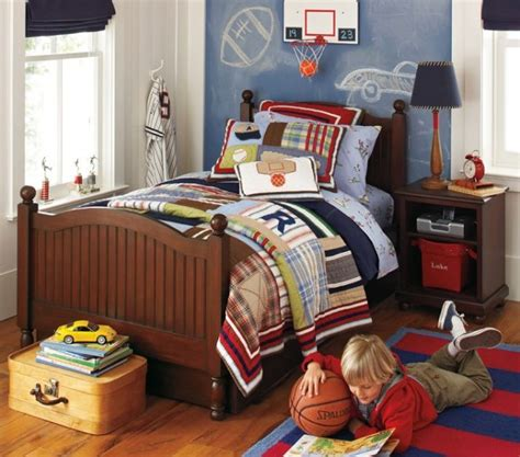 sports theme room white and blue plaid sports themed boys room