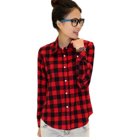 Sabrina Blouse Casual Flanel button blouse tops casual sleeve flannel check plaid lapel shirt ebay