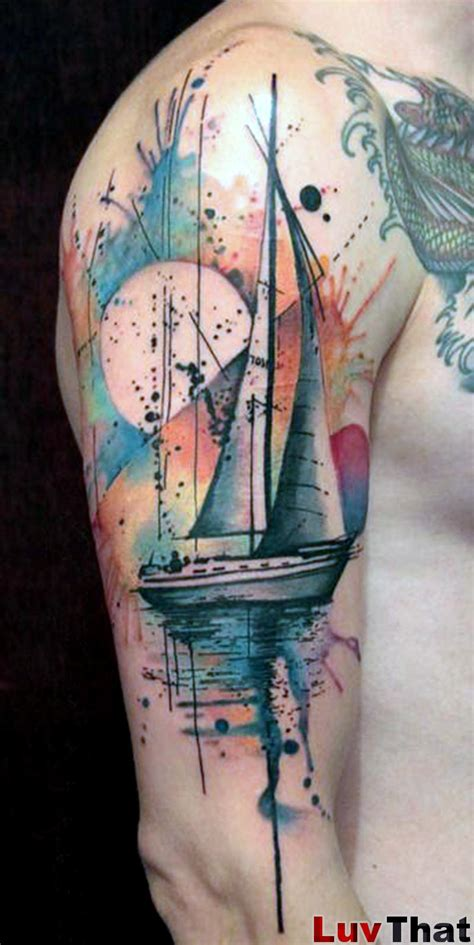 sail boat tattoo 25 amazing watercolor tattoos luvthat