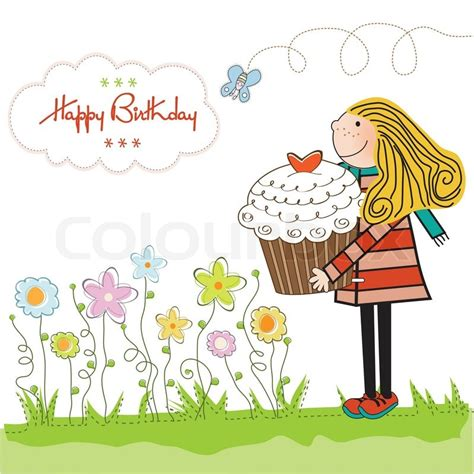 Home Design Credit Card happy birthday card with girl and cupcake stock vector