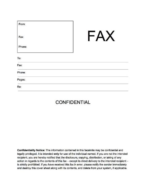 printable fax cover sheet free printable pages