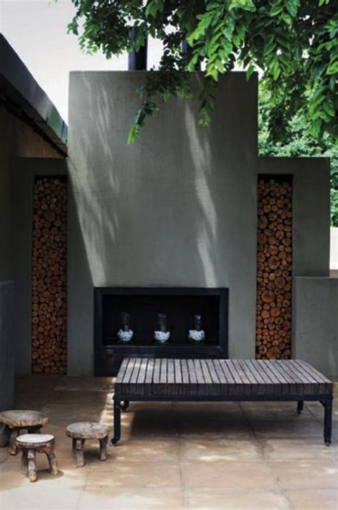 modern outdoor fireplace ideas  pinterest