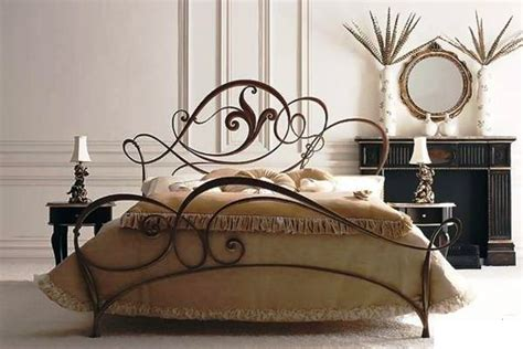 wrought iron beds beaten metal beds in bedroom interior pros and cons