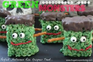 green marshmallow treat monsters halloween frankenstein rice krispies