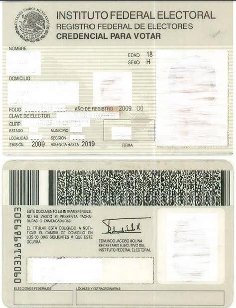 formato credencial de elector formato credencial word dof diario oficial de la