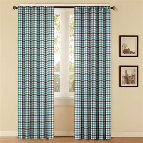 blue plaid curtain panels shop style selections style selections 84 in l plaid