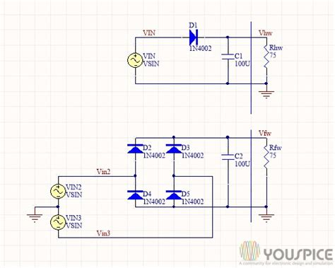 capacitor in parallel with rectifier diode diodes capacitor half wave and wave rectifier youspice