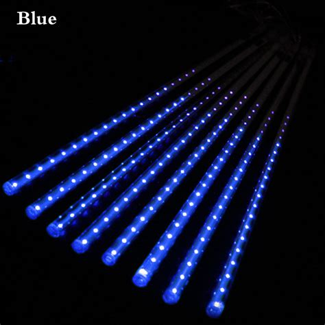 meteor shower led christmas lights led curtain icicle string light 8pcs 30 50cm meteor shower