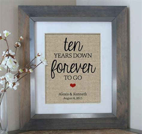 ten years burlap print 10 year anniversary gift gift for husband gift for 10th