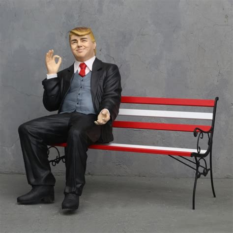 donald trump sitting  bench