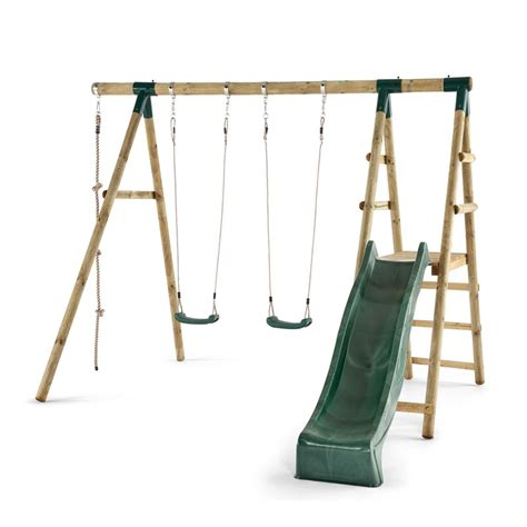 wooden swing and slide set uk plum giant baboon wooden swing set all round fun