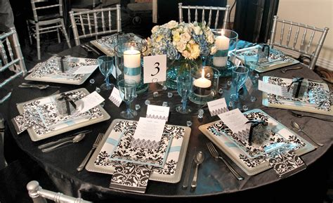 bridal shower decoration ideas black and white aqua and damask black white damask turquoise bridal shower brunch decor tablescape 1