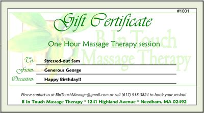 free printable gift certificate massage b in touch massage therapy gift certificates