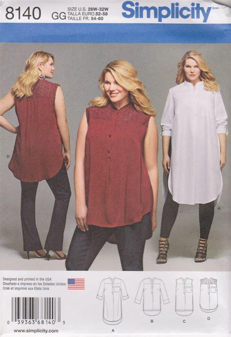strumming pattern of shirt da button simplicity sewing pattern 8140 womens plus size 26w 32w