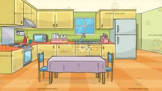 kitchen cartoon a family kitchen with a dining table and two chairs