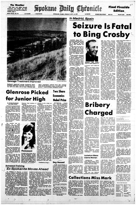 Daily News Classified Section by Crosby S 1977 Obituary As It Appeared In The Spokane