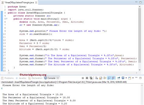 java printable area java program to find area of equilateral triangle
