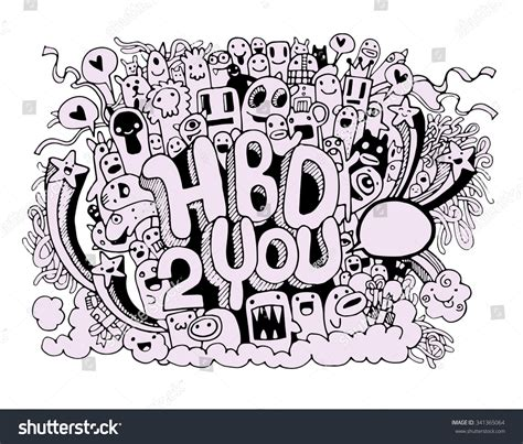 doodle happy anniversary birthday doodles elements stock vector