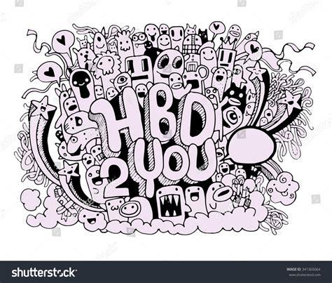 happy birthday doodle easy birthday doodles elements stock vector