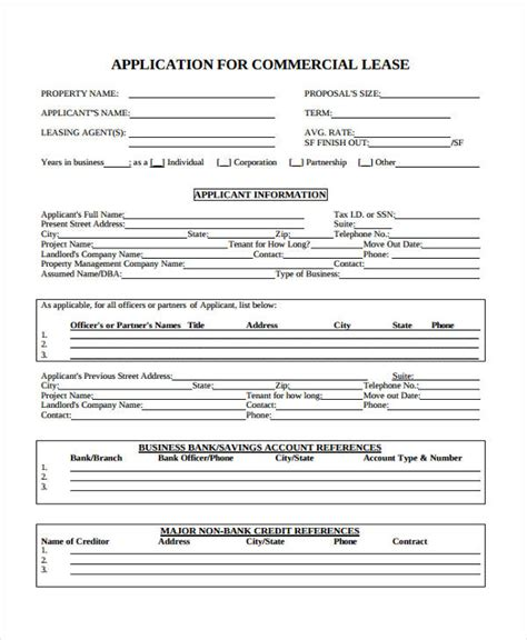 Credit Application Form For Commercial Rental Property 21 Free Lease Application Form Free Documents In Word Pdf