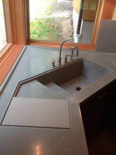 concrete kitchen sinks integral concrete kitchen sink contemporary kitchen