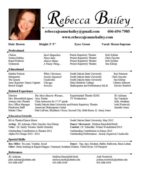 theatrical resume template word acting resume best template collection