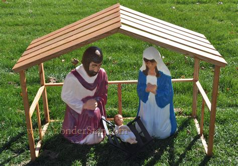 life size outdoor nativity holy family with wooden manger