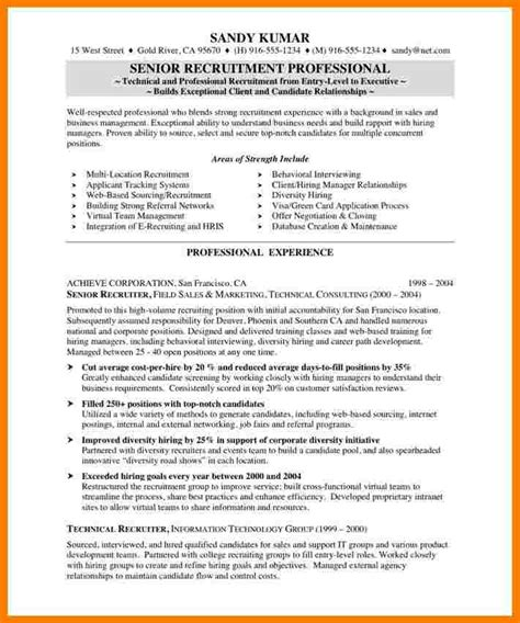 recruiter sle resume human resources recruiter resume 40 images human