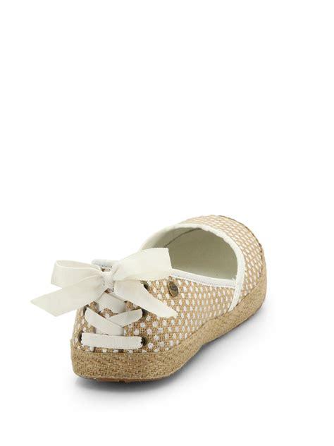 ugg flat shoes ugg indah woven burlap slip on flats in lyst