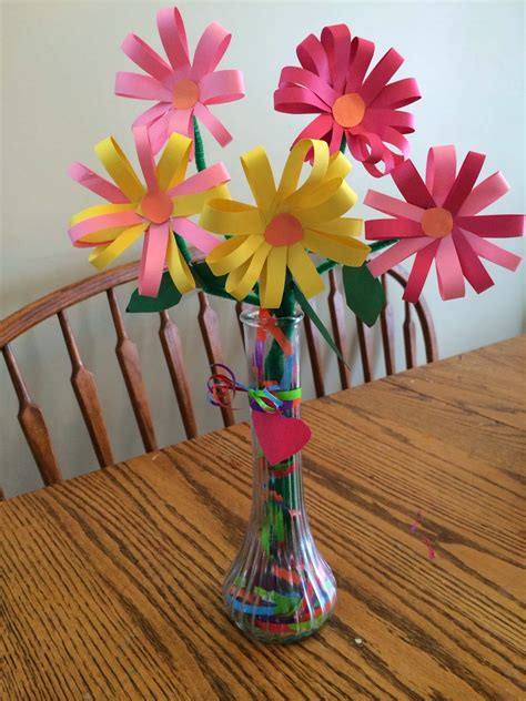 diy decorations construction paper construction paper flowers vase filled with gift wrap ribbon kid crafts