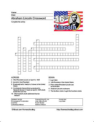 life of abraham lincoln crossword abraham lincoln printable word search