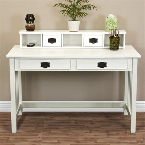 White Desk For Home Office Writing Desk Mission White Home Office Computer Desk Solid Wood Construction New Ebay