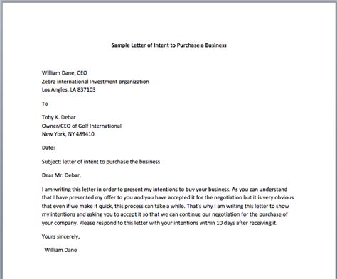letter of intent to purchase template letter of intent to sell business sle