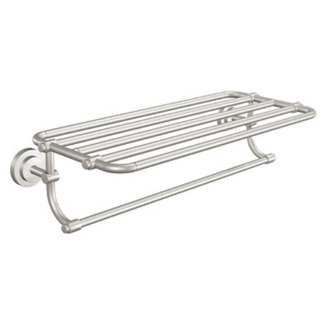 Towel Rack With Shelf Brushed Nickel shop moen iso spot resist brushed nickel rack towel bar common 24 in actual 26 95 in at