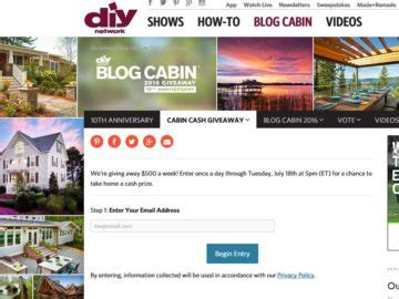 Instant Cash Giveaway Sweepstakes - diy network cabin cash giveaway sweepstakes