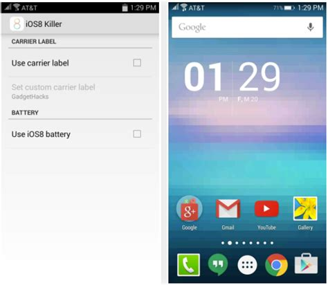 killer ios how to get ios type status bar on any android device