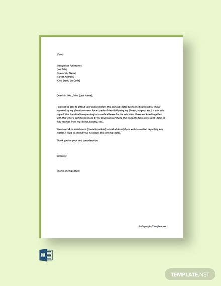 medical leave letter college template word