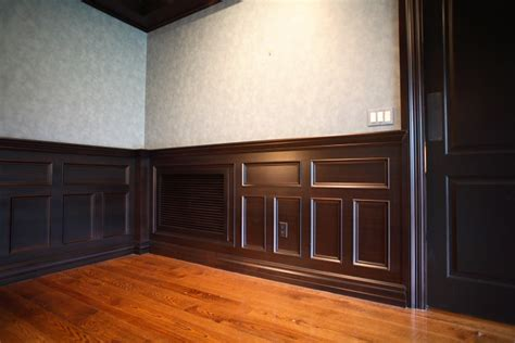 Walnut Wainscoting Panels Formal Diningroom In Walnut Hudson Cabinet