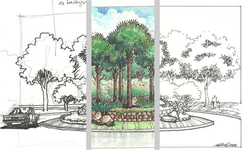 landscape design drawing techniques drawing sketch picture