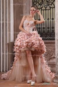 modern pink strapless sweetheart ruffled high low prom