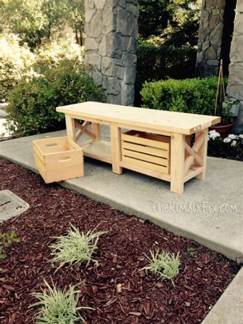 crate bench diy x leg wooden bench with crate storage shelterness