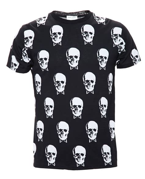 laurent skull print cotton jersey t shirt in black