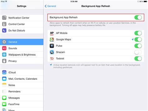 turn    background app refresh   ipad