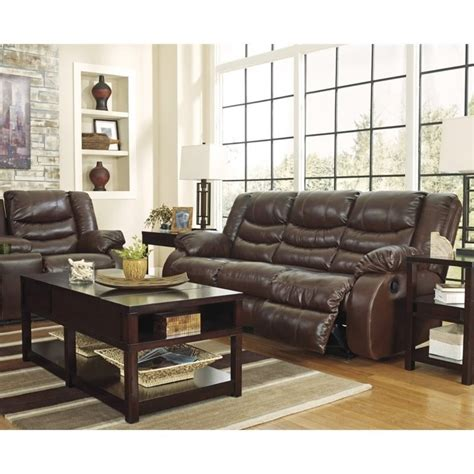 ashley linebacker sofa ashley linebacker 3 piece leather reclining sofa set in