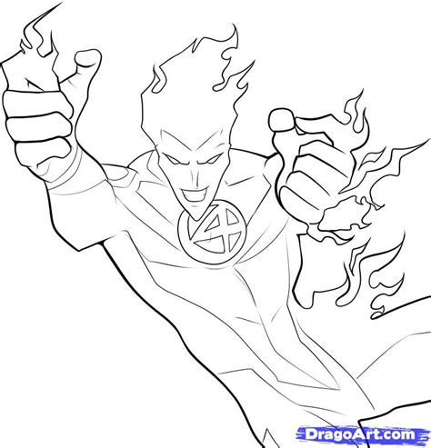 how to draw the human torch step 6