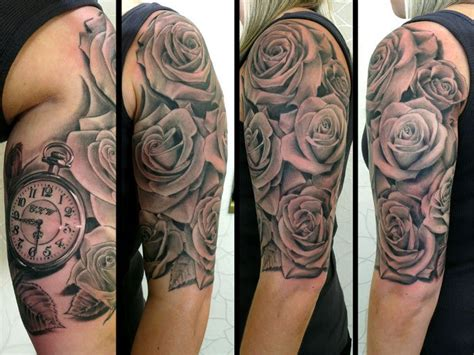 grey ink swirl and rose flower half sleeve tattoo grey ink 3d roses and clock half sleeve tattoo design
